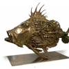 POISSON AQUATIQUE Aquatic fish « Palme d'Or » Cannes  2011 Saint-Pierre with taps sides, sluice gate, water filter and propeller engine for the tail. Bronze 4/8 H 56 x 73 x 20 cm